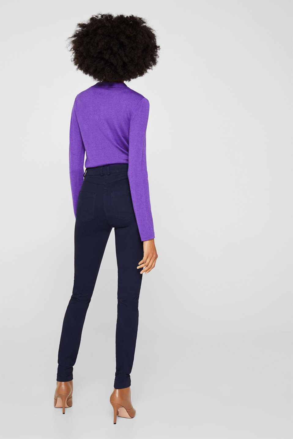 Soft, high-waisted stretch trousers, NAVY, detail image number 3