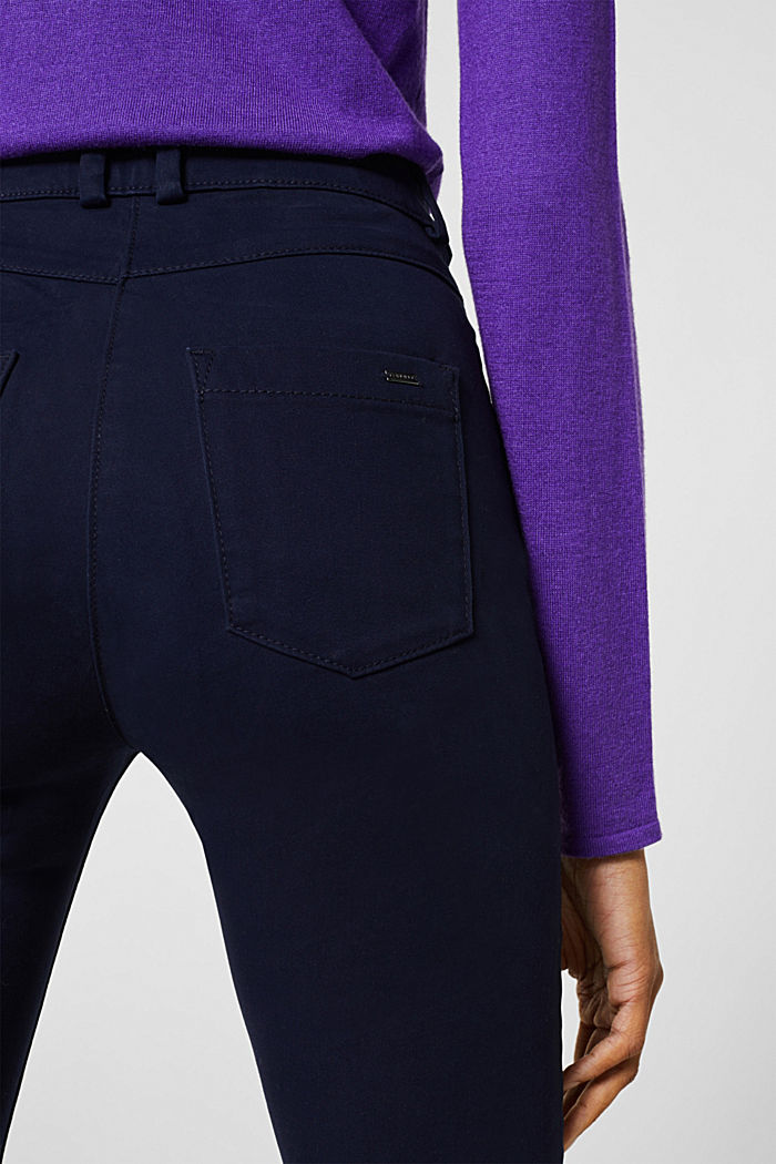 Soft, high-waisted stretch trousers, NAVY, detail image number 6