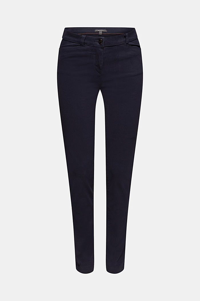 Soft, high-waisted stretch trousers, NAVY, detail image number 7