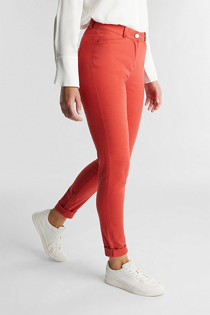 Soft, high-waisted stretch trousers, TERRACOTTA, detail image number 0