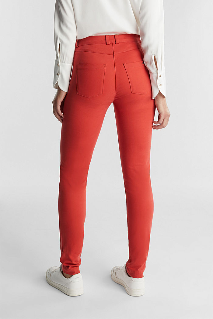Soft, high-waisted stretch trousers, TERRACOTTA, detail image number 3