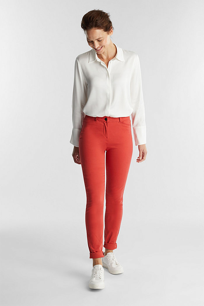 Soft, high-waisted stretch trousers, TERRACOTTA, detail image number 1