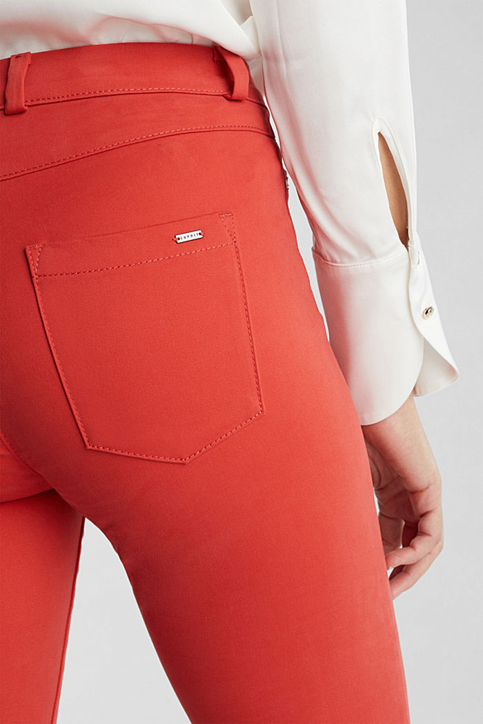 Soft, high-waisted stretch trousers, TERRACOTTA, detail image number 2