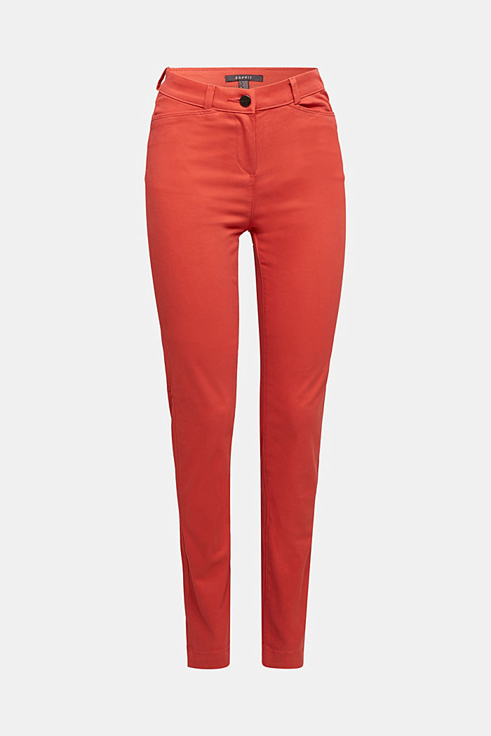 Soft, high-waisted stretch trousers, TERRACOTTA, detail image number 5