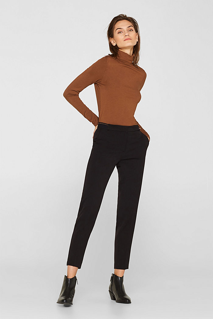 Stretch trousers with a glittery waistband, BLACK, detail image number 0
