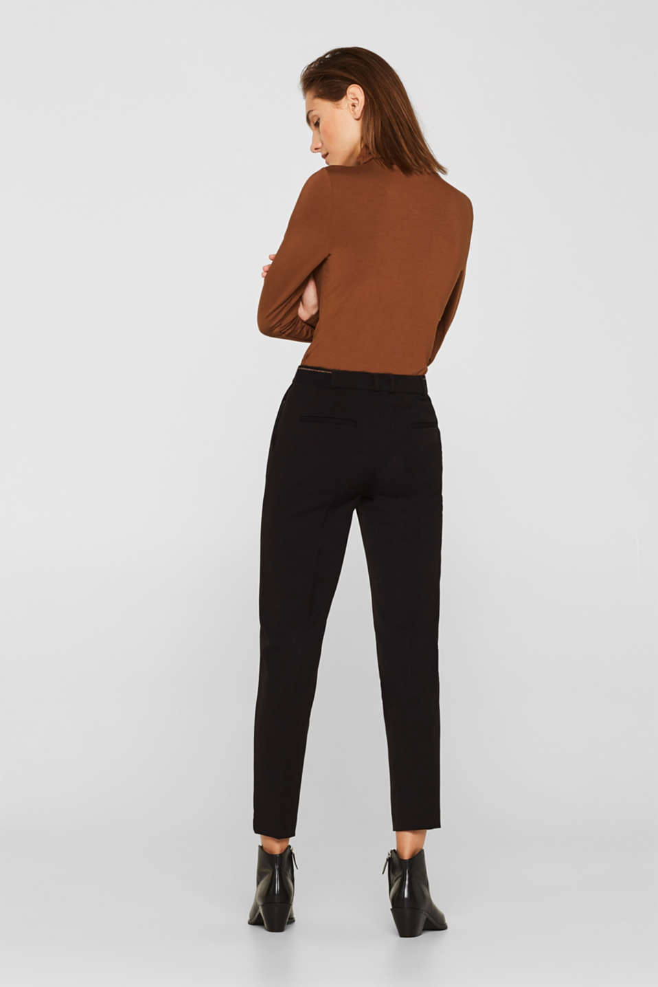 Stretch trousers with a glittery waistband, BLACK, detail image number 3