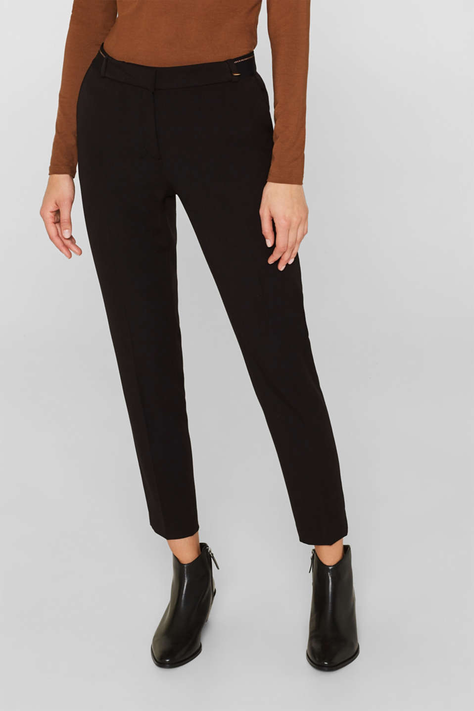 Stretch trousers with a glittery waistband, BLACK, detail image number 6