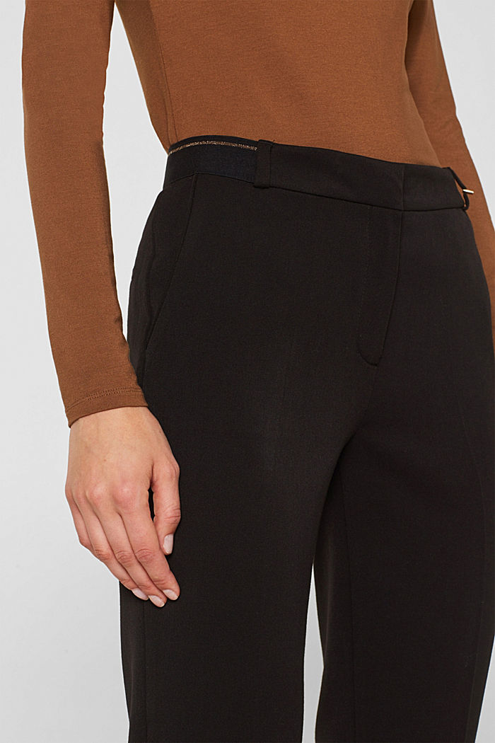 Stretch trousers with a glittery waistband, BLACK, detail image number 2