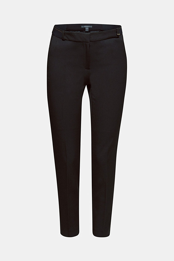 Stretch trousers with a glittery waistband, BLACK, detail image number 7