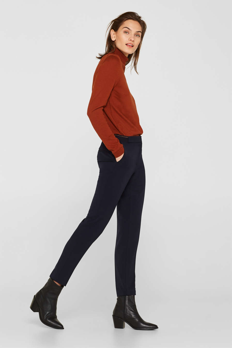 Stretch trousers with a glittery waistband, NAVY, detail image number 0