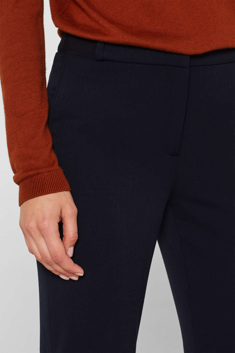 Stretch trousers with a glittery waistband, NAVY, detail image number 2