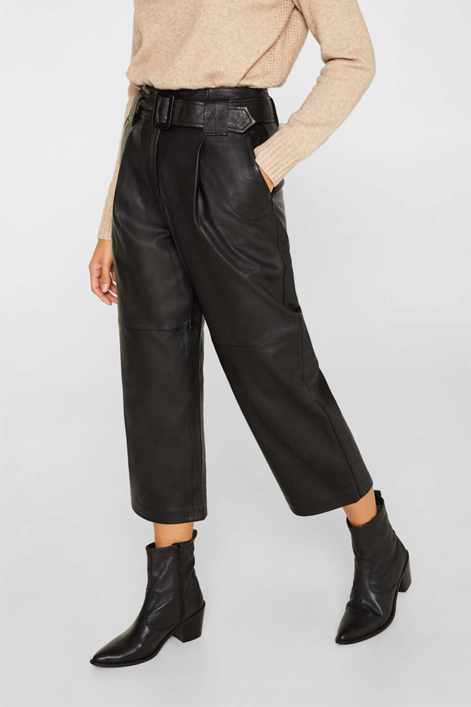 Esprit - Made of leather: Culottes with wide belt