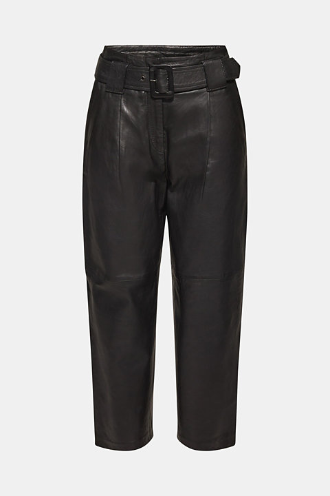 Made of leather: Culottes with wide belt