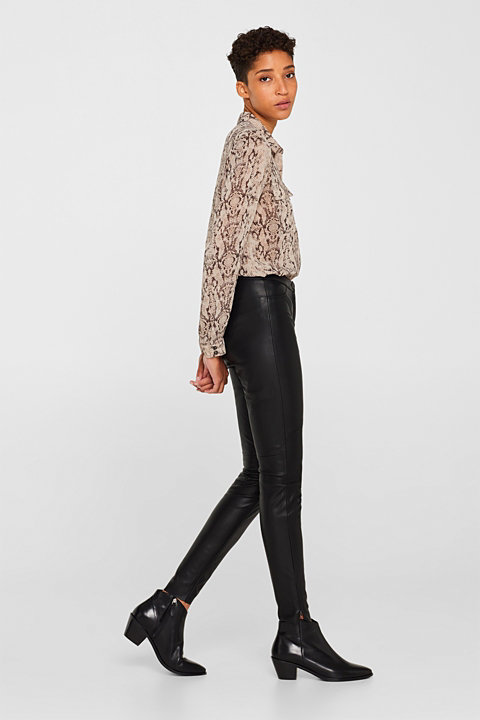 Stretch faux leather trousers