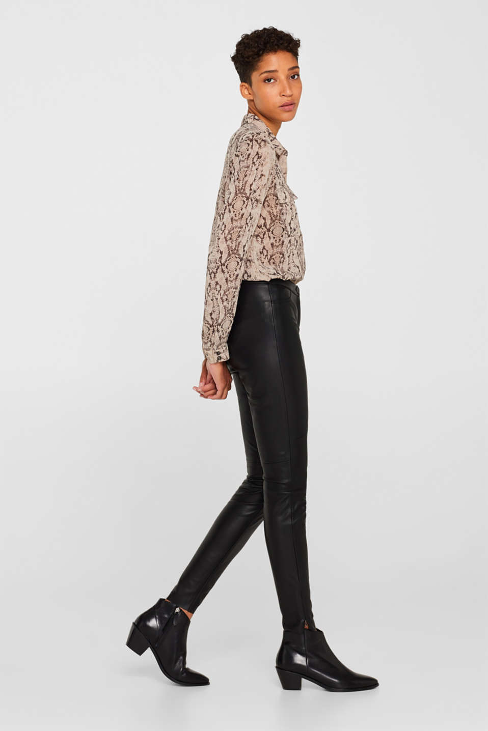 Esprit - Stretch faux leather trousers