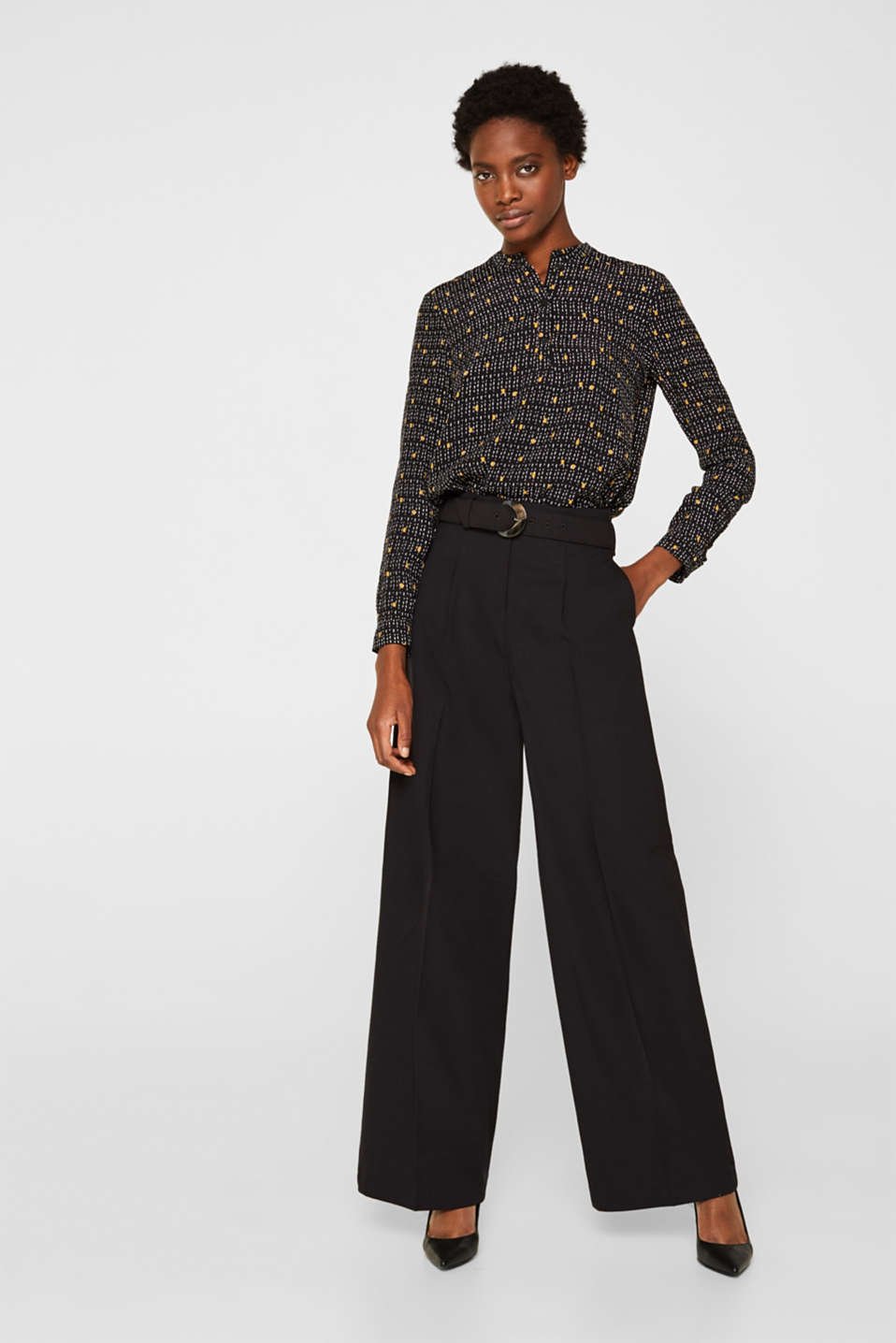 Esprit - Wide high-rise trousers with a belt