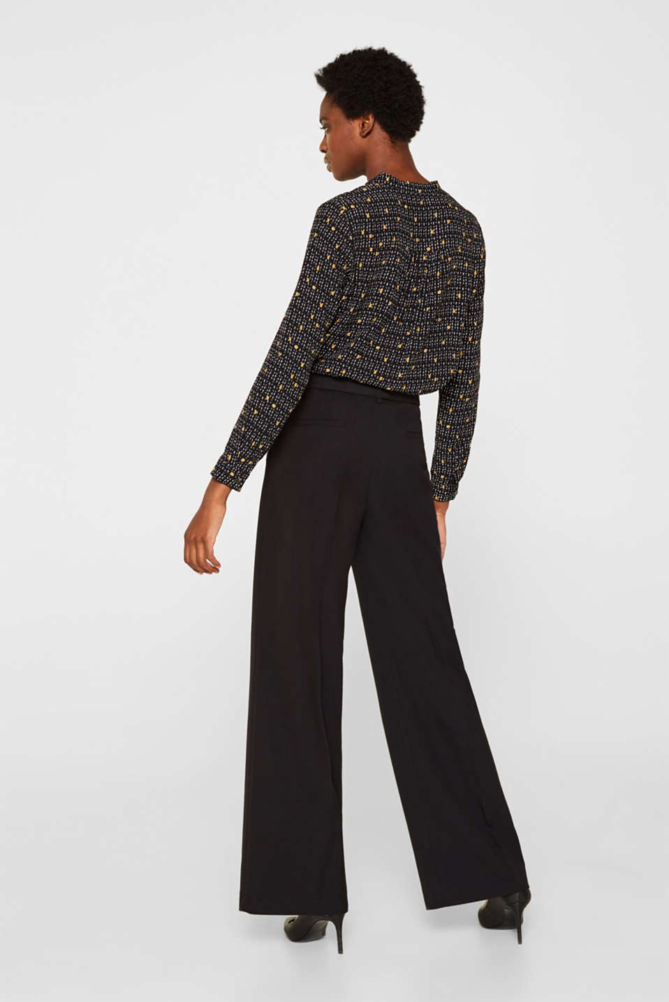 Wide high-rise trousers with a belt, BLACK, detail image number 3