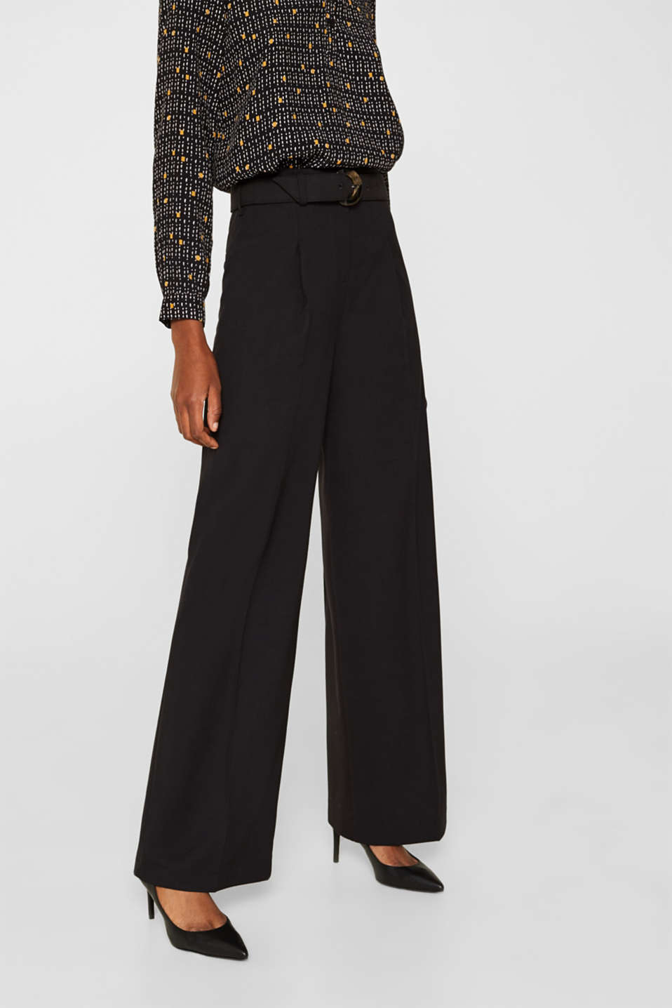 Wide high-rise trousers with a belt, BLACK, detail image number 6