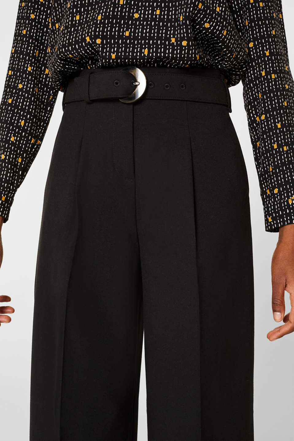 Wide high-rise trousers with a belt, BLACK, detail image number 2