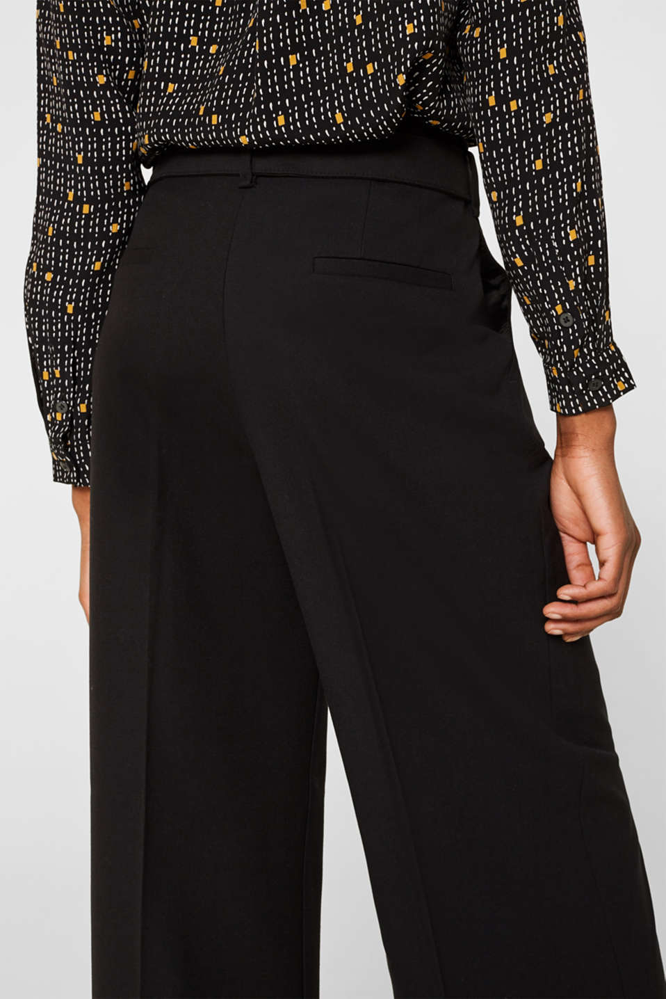 Wide high-rise trousers with a belt, BLACK, detail image number 5