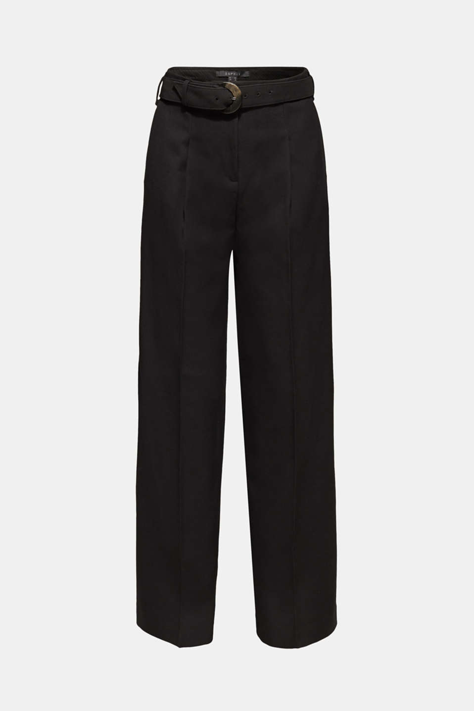 Wide high-rise trousers with a belt, BLACK, detail image number 8