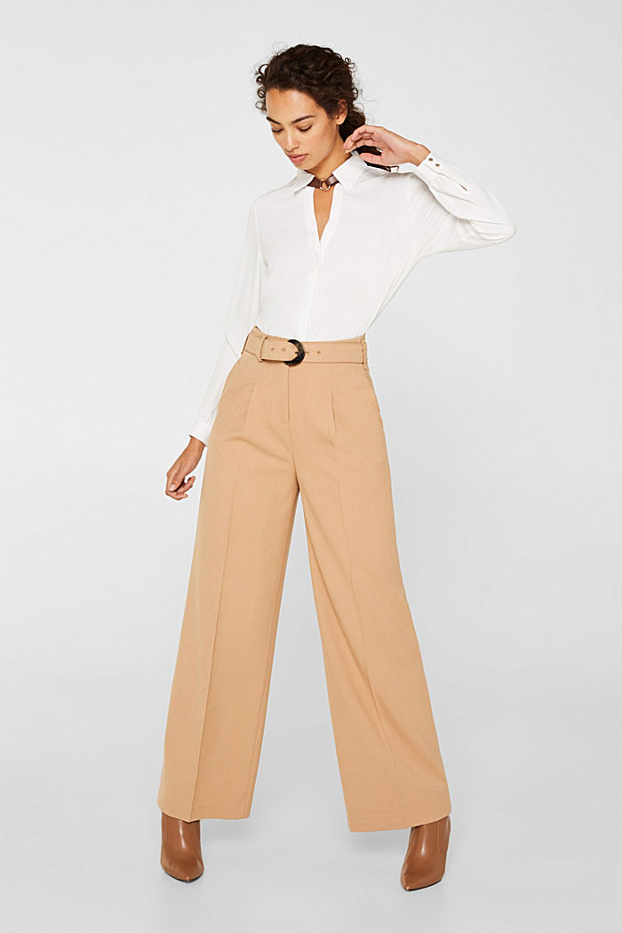 Wide high-rise trousers with a belt, CAMEL, detail image number 0