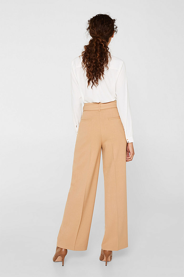 Wide high-rise trousers with a belt, CAMEL, detail image number 3