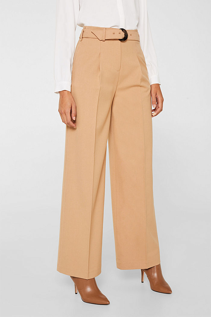 Wide high-rise trousers with a belt, CAMEL, detail image number 5