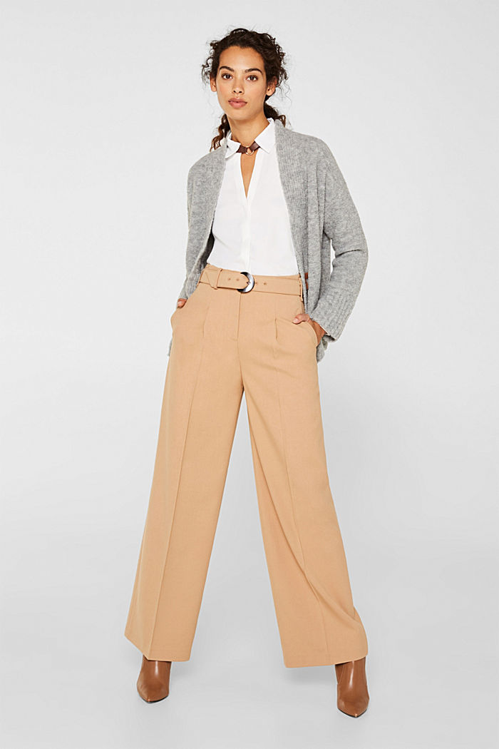 Wide high-rise trousers with a belt, CAMEL, detail image number 1