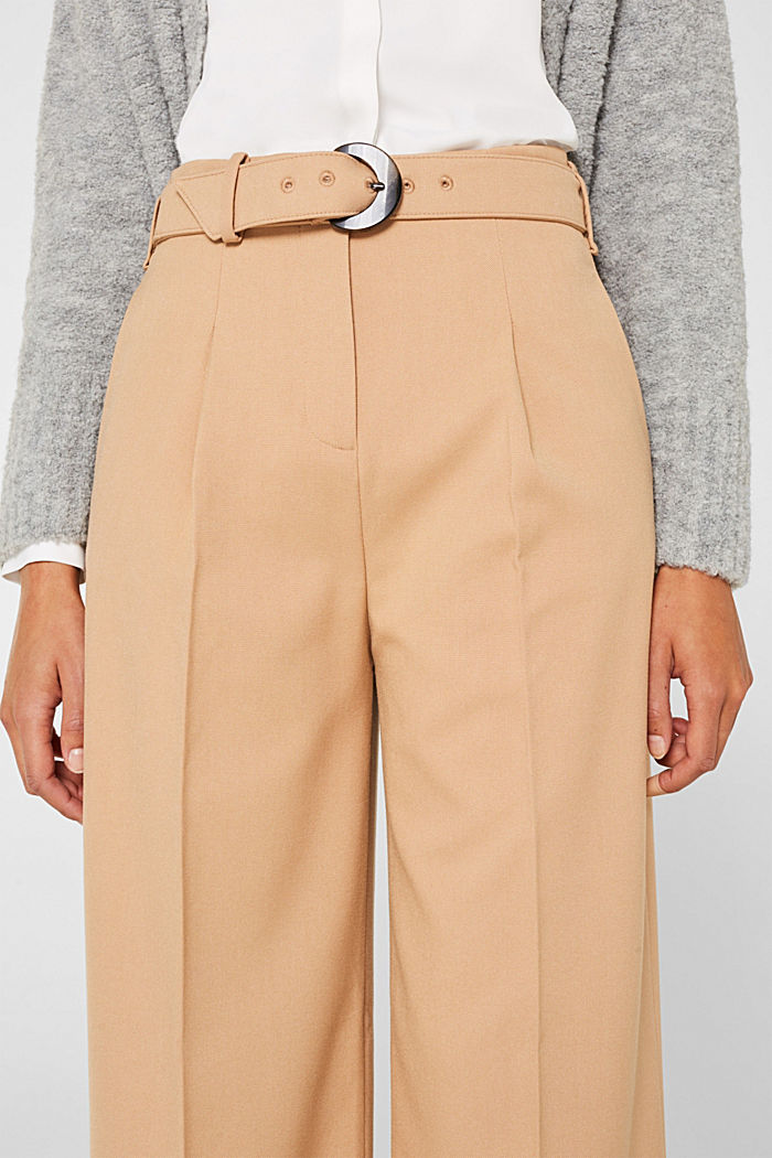 Wide high-rise trousers with a belt, CAMEL, detail image number 2