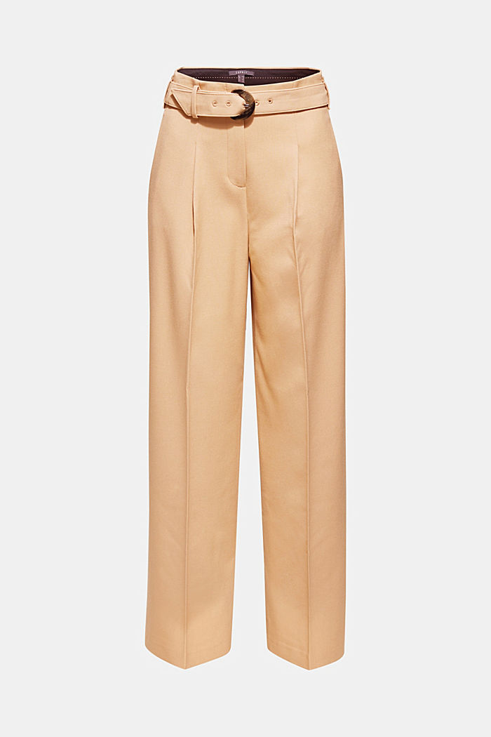 Wide high-rise trousers with a belt, CAMEL, detail image number 6
