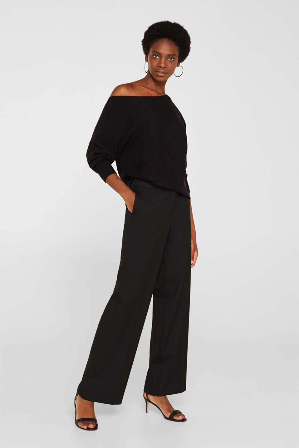 High-waist stretch trousers with a wide leg, BLACK, detail