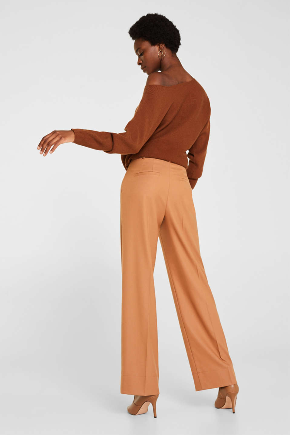 High-waist stretch trousers with a wide leg, CAMEL, detail image number 3