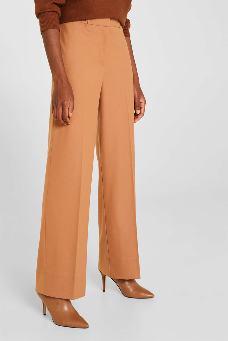 High-waist stretch trousers with a wide leg, CAMEL, detail image number 5