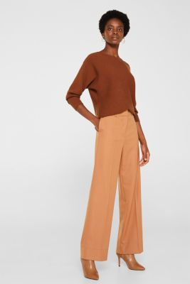 High-waist stretch trousers with a wide leg, CAMEL, detail