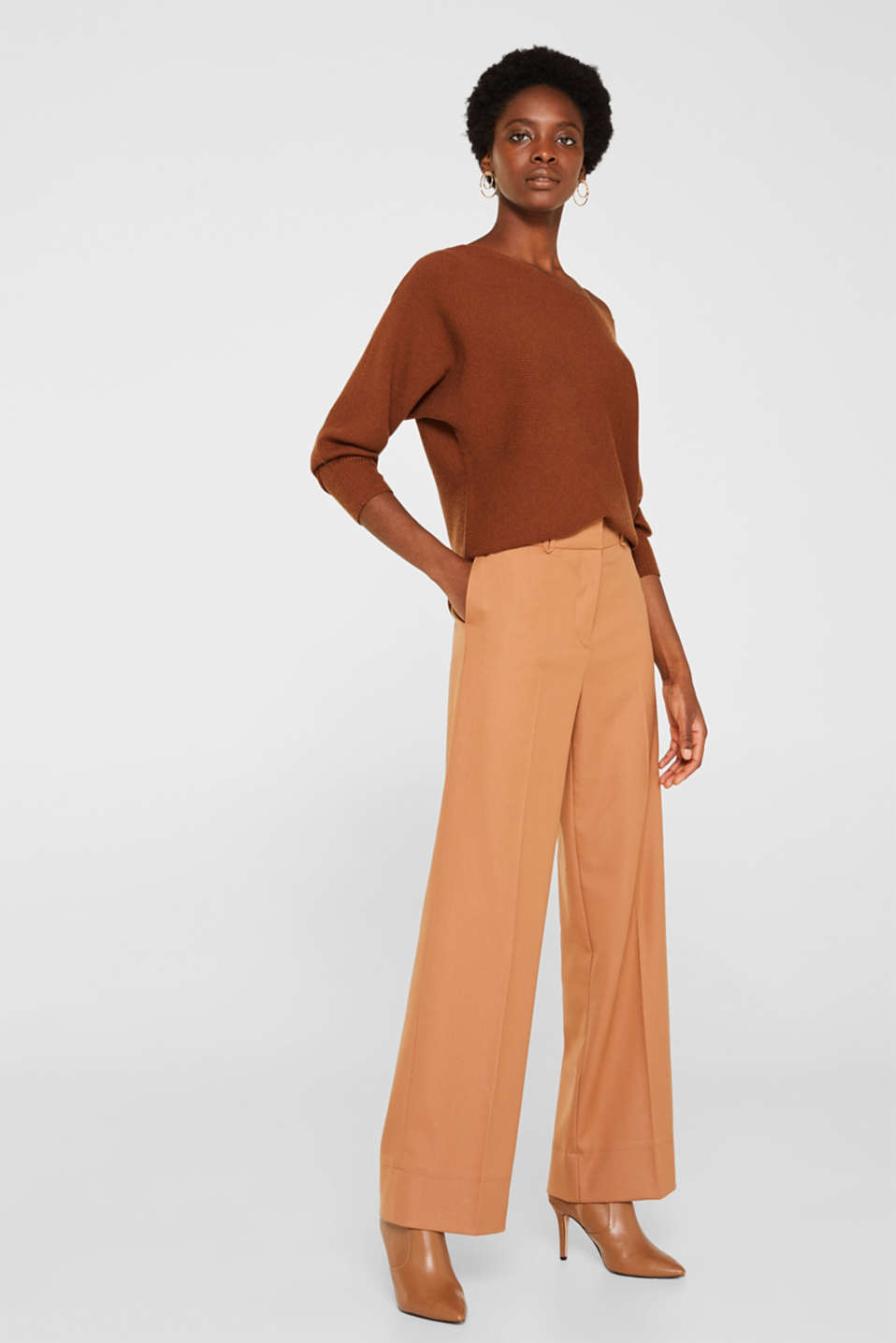 High-waist stretch trousers with a wide leg, CAMEL, detail image number 1