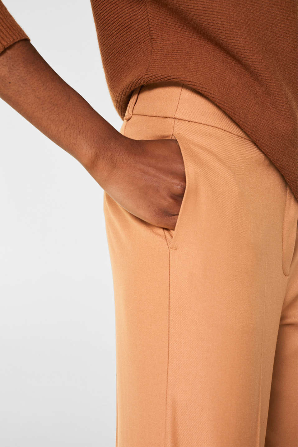 High-waist stretch trousers with a wide leg, CAMEL, detail image number 2