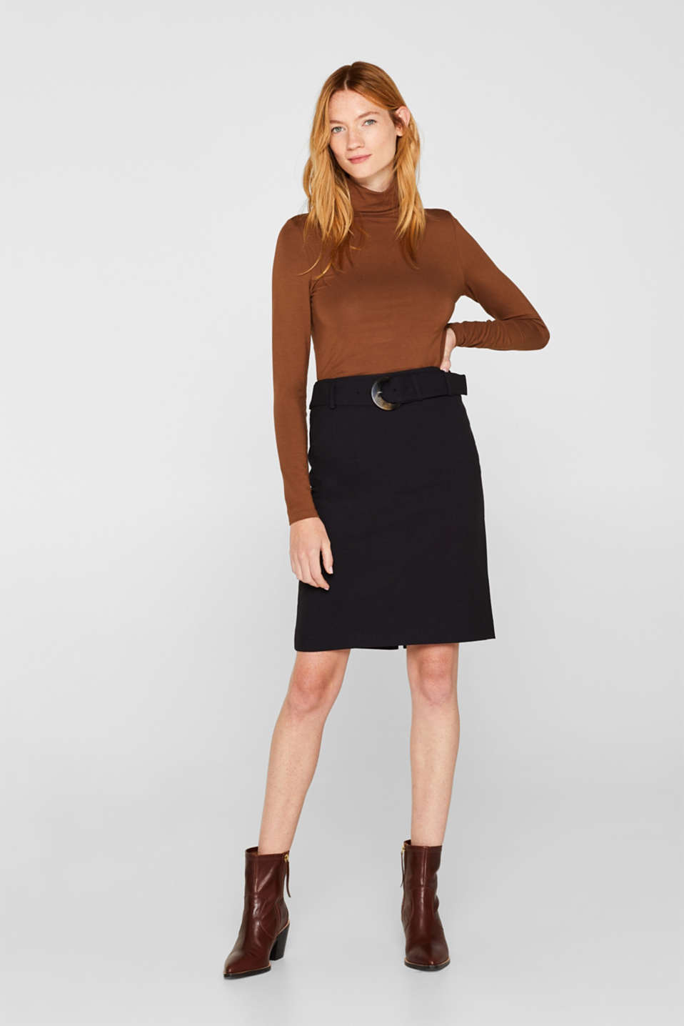 Esprit - High-waisted skirt with a belt