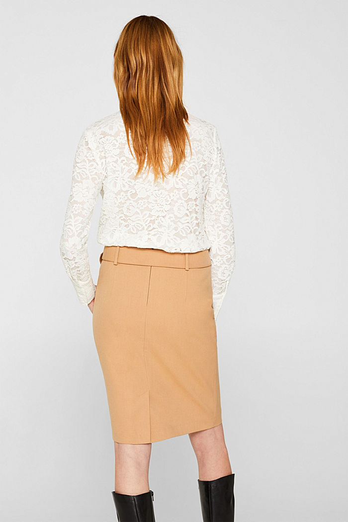 High-waisted skirt with a belt, CAMEL, detail image number 3