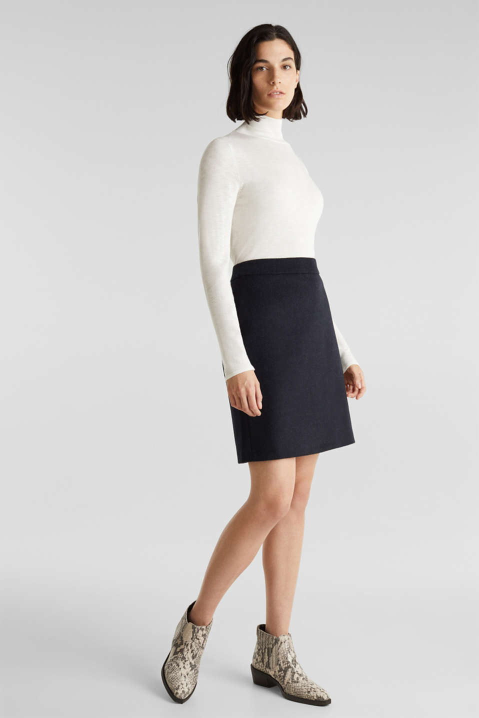 Esprit - With wool: Skirt in a worsted yarn look