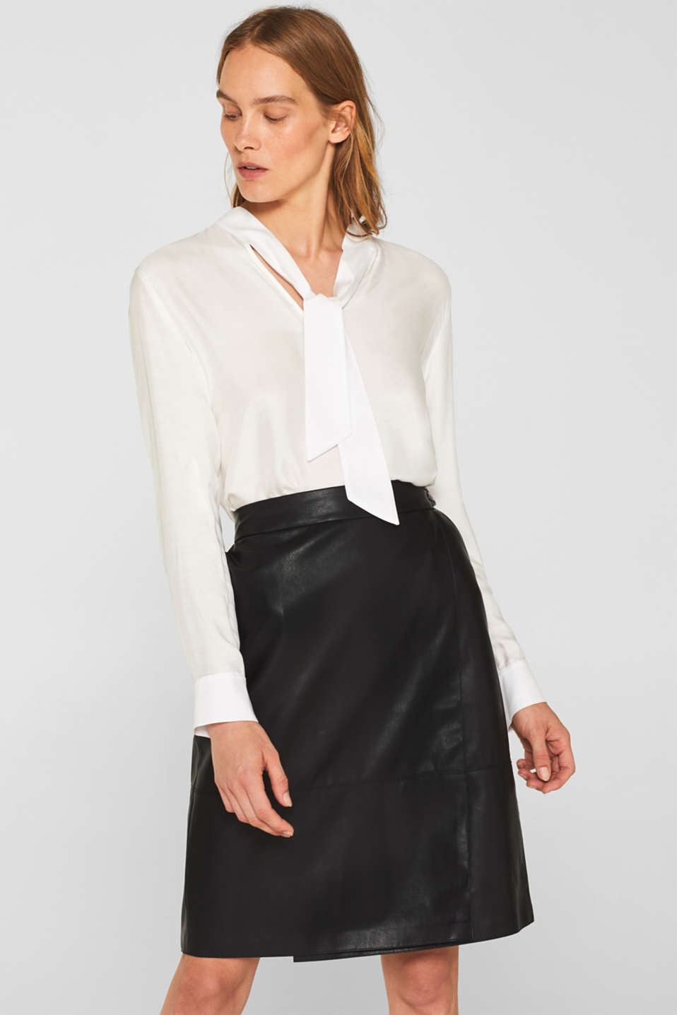 Faux leather wrap-over skirt, BLACK, detail image number 0