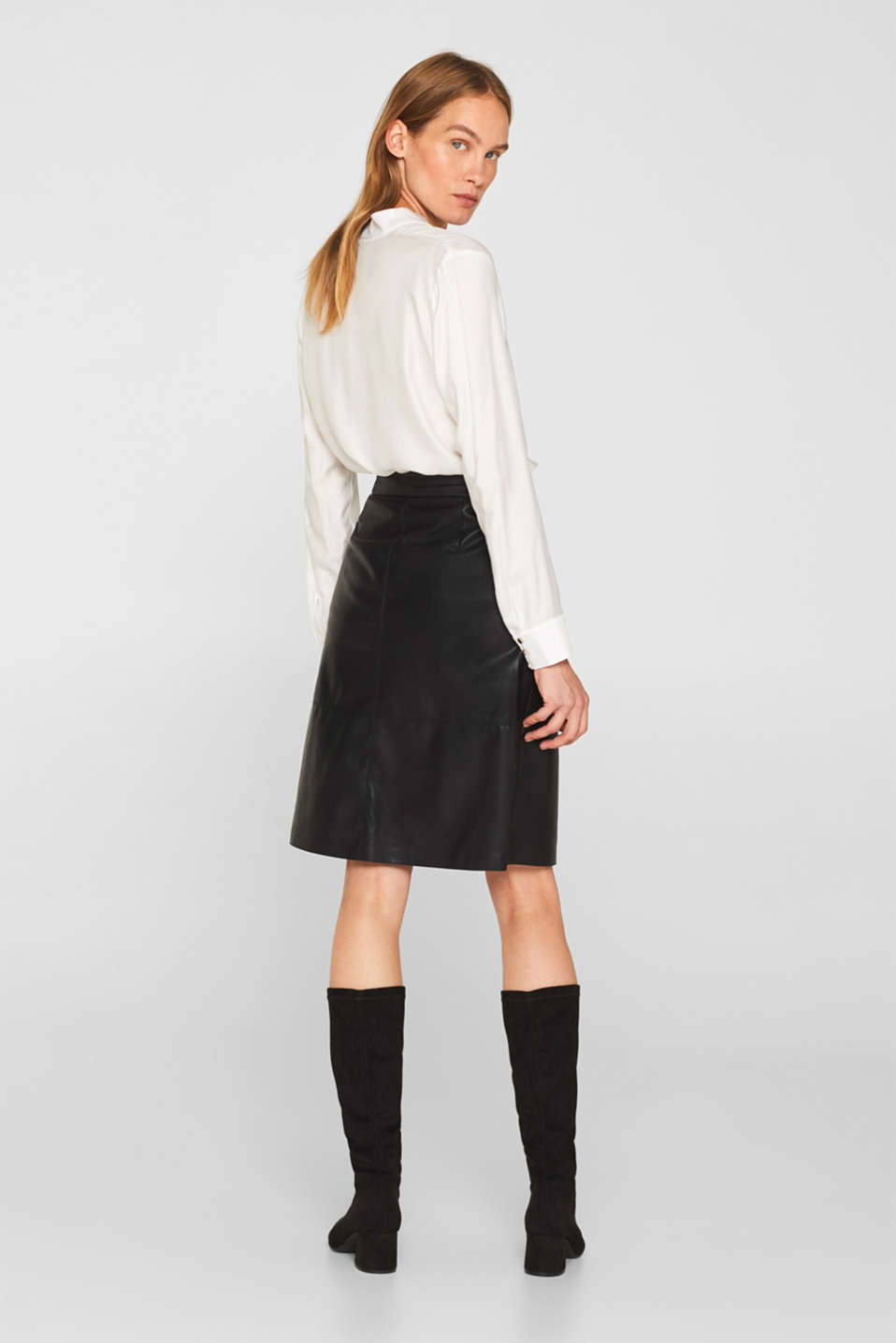 Faux leather wrap-over skirt, BLACK, detail image number 3