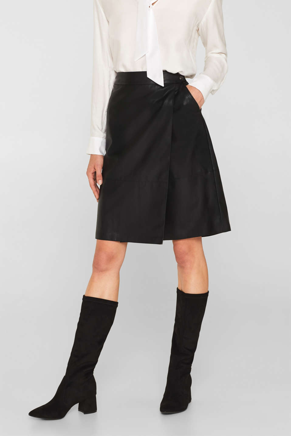 Faux leather wrap-over skirt, BLACK, detail image number 5