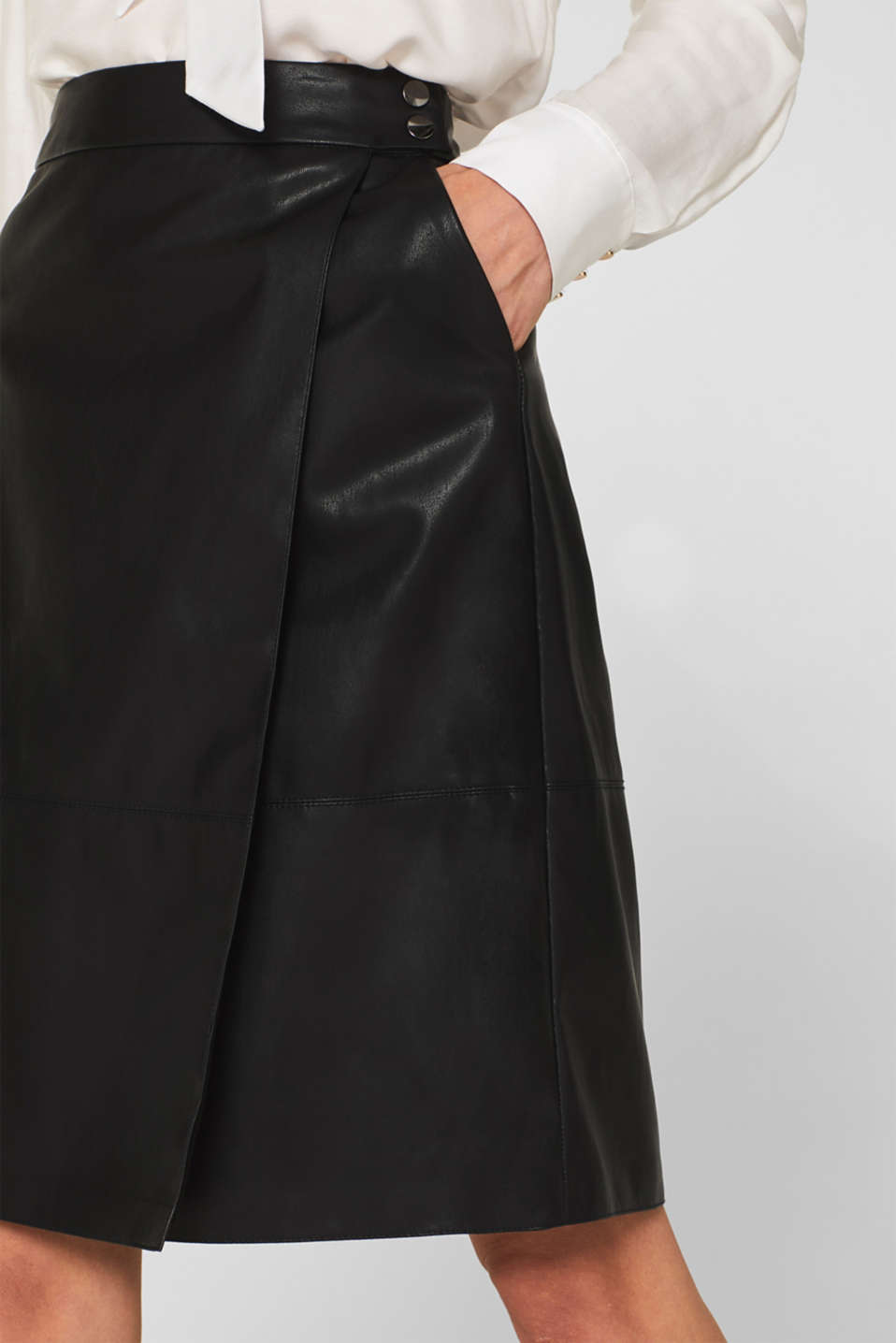 Faux leather wrap-over skirt, BLACK, detail image number 2