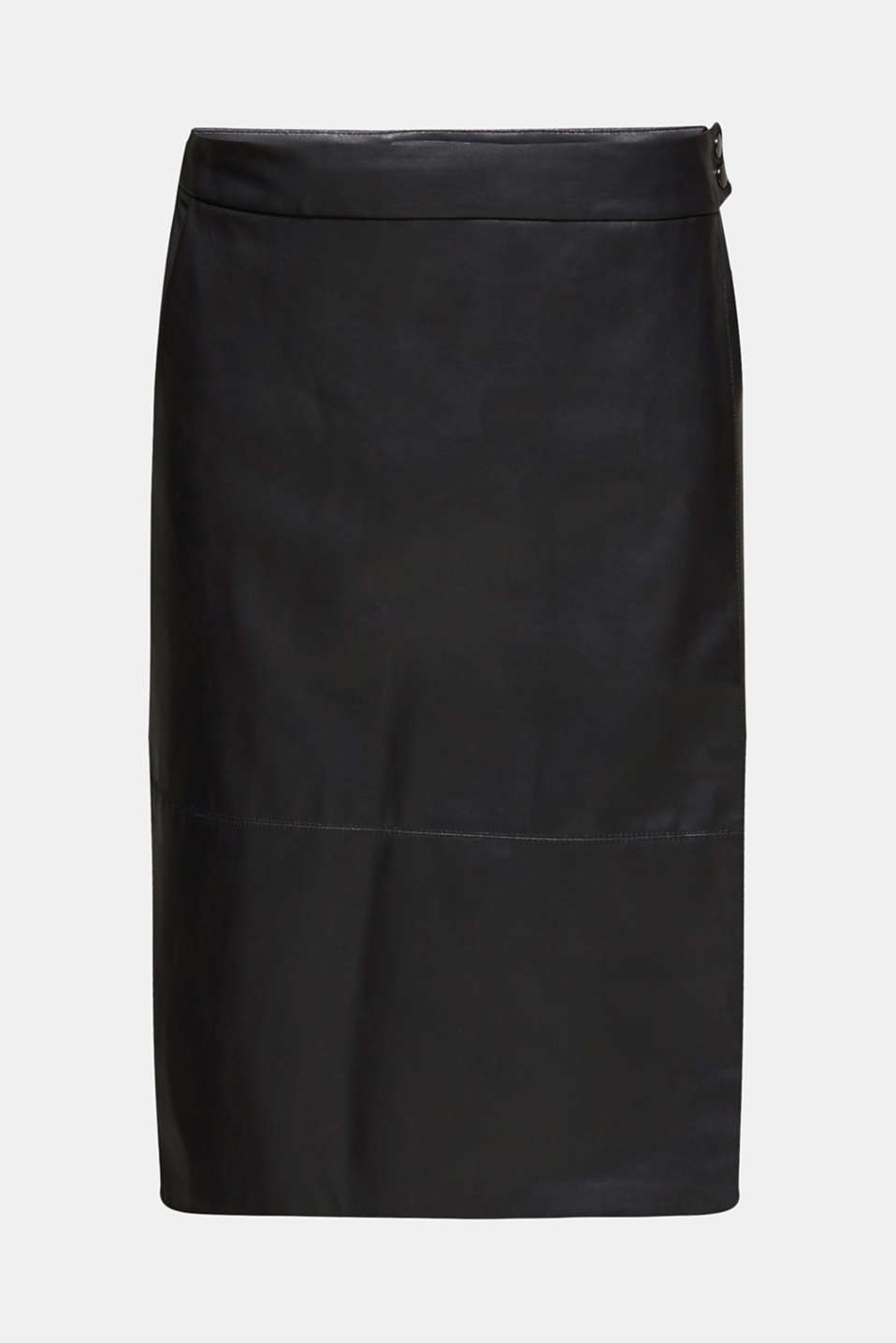 Faux leather wrap-over skirt, BLACK, detail image number 6