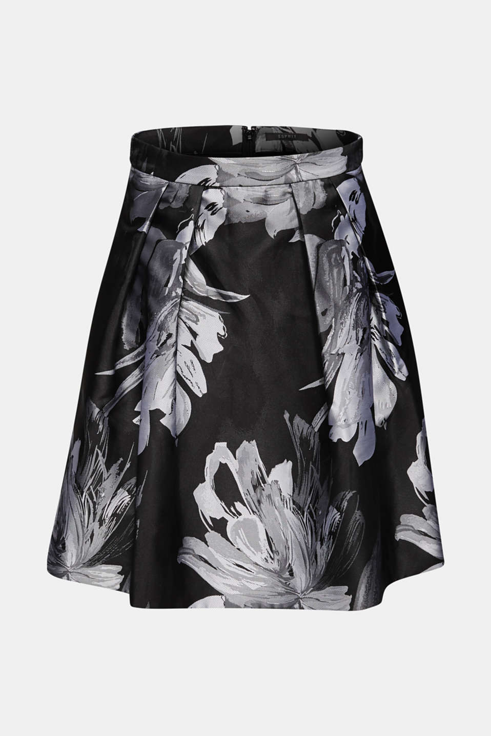 Skirt with jacquard flowers, BLACK, detail image number 6