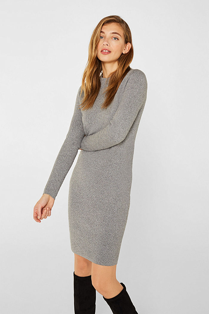 Knit dress with a relief texture, GUNMETAL, detail image number 0