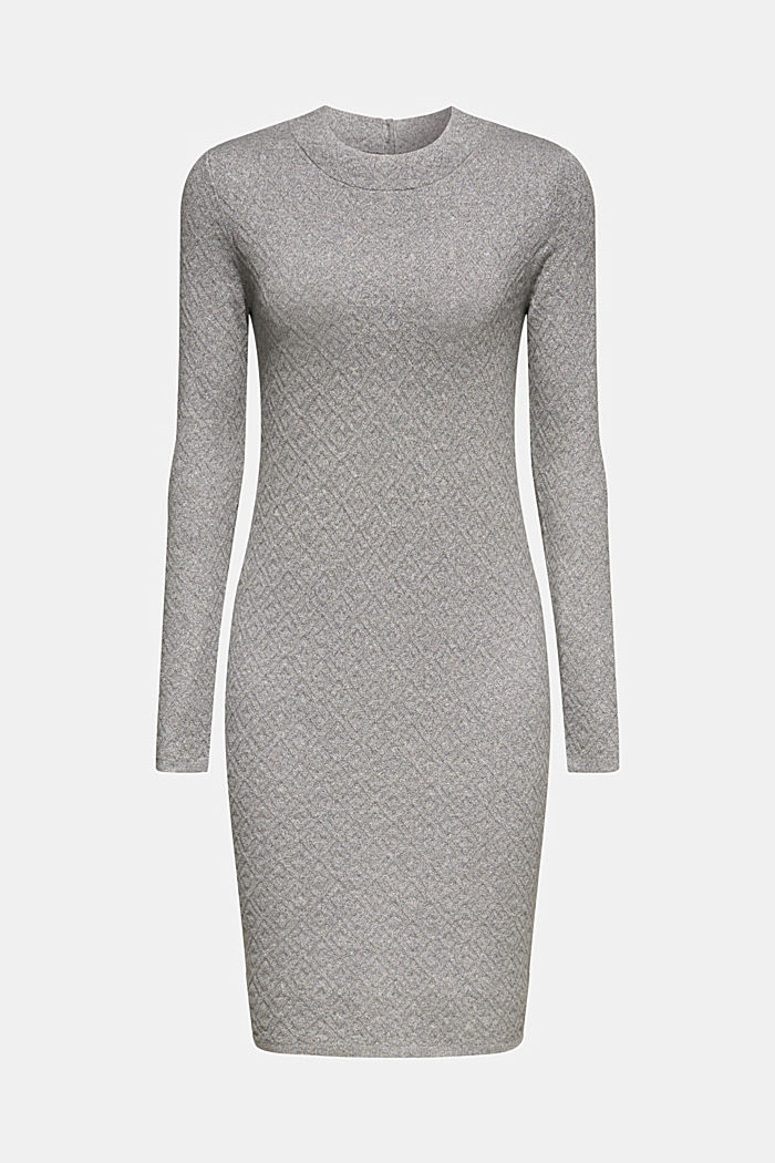 Knit dress with a relief texture, GUNMETAL, detail image number 7