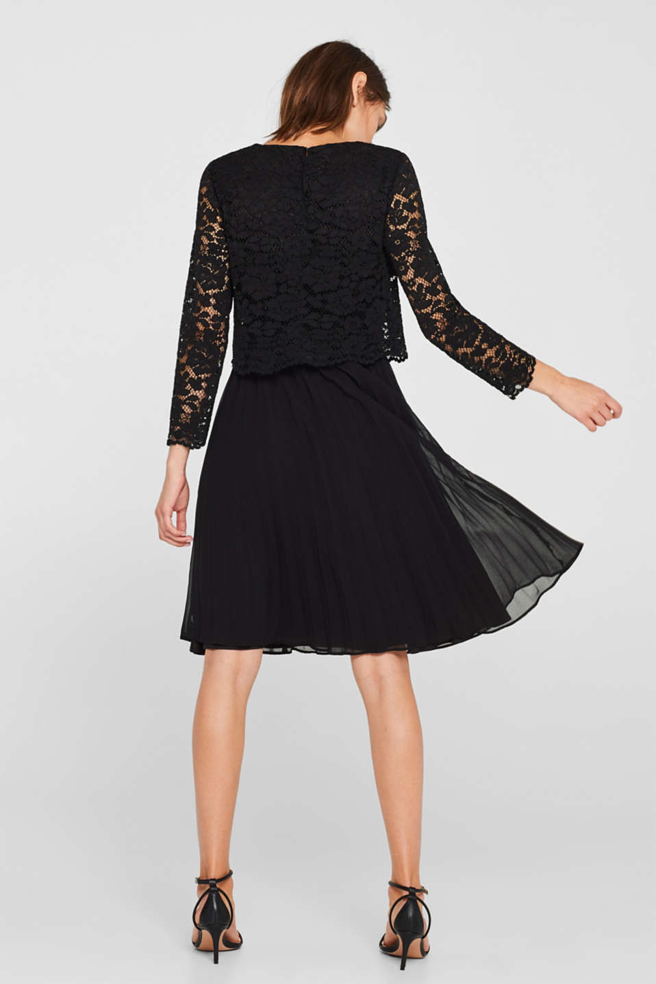 Lace dress with a pleated skirt, BLACK, detail image number 2