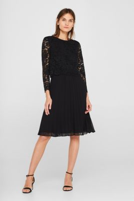 Lace dress with a pleated skirt, BLACK, detail